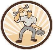 Historieta de la caja de herramientas de Holding Spanner Wrench del mecánico ilustración del vector