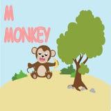 Historieta de la diversión del alfabeto del mono Foto de archivo libre de regalías