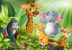 Historieta de la escena de la naturaleza con los animales salvajes stock de ilustración
