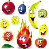 Historieta de la fruta con muchas expresiones Foto de archivo libre de regalías