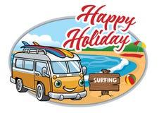 Historieta de la furgoneta del vintage en la playa libre illustration