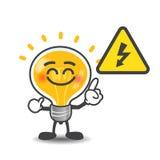 Historieta de la lámpara del bulbo que señala al aislante del símbolo de voltio de la energía eléctrica Foto de archivo
