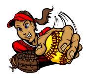 Historieta de la muchacha del beísbol con pelota blanda de Fastpitch libre illustration