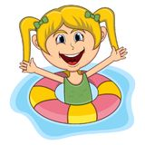 Historieta de la nadada de las muchachas ilustración del vector