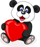 Historieta de la panda con dimensión de una variable roja del corazón Fotos de archivo libres de regalías