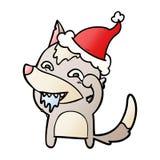 historieta de la pendiente de un lobo hambriento que lleva el sombrero de santa stock de ilustración