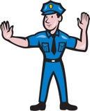 Historieta de la señal de mano de la parada del policía de tráfico Foto de archivo libre de regalías