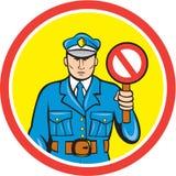 Historieta de la señal de mano de la parada del policía de tráfico Fotos de archivo