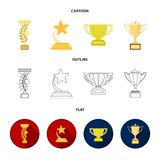 Historieta de la taza del oro, esquema, iconos planos en la colección del sistema para el diseño Ejemplo del web de la acción del Fotografía de archivo