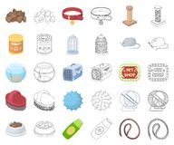 Historieta de la tienda de animales, iconos del esquema en la colección determinada para el diseño Las mercancías para los animal libre illustration