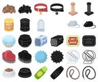 Historieta de la tienda de animales, iconos negros en la colección determinada para el diseño Las mercancías para los animales ve ilustración del vector