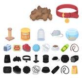 Historieta de la tienda de animales, iconos negros en la colección determinada para el diseño Las mercancías para los animales ve stock de ilustración