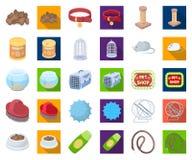 Historieta de la tienda de animales, iconos planos en la colección determinada para el diseño Las mercancías para los animales ve stock de ilustración