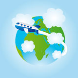 Historieta de la tierra y del aeroplano Imágenes de archivo libres de regalías