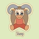 Historieta de las ovejas, símbolo del horóscopo chino 2027 años Granja ilustración del vector
