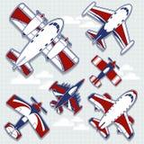 Historieta de los aeroplanos para la decoración infantil Imágenes de archivo libres de regalías