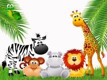 Historieta de los animales del parque zoológico ilustración del vector