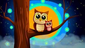Historieta de los búhos, luna hermosa y estrellas, fondo video del mejor lazo para que nana ponga a un bebé para dormir, el calma libre illustration