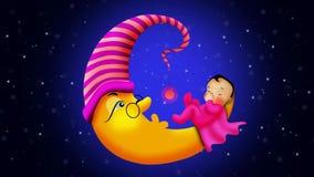 Historieta de los bebés que duerme en la luna