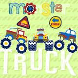 Historieta de los monsteres truck stock de ilustración