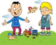 Historieta de los niños con un tren quebrado del juguete Imágenes de archivo libres de regalías