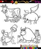 Historieta de los refranes fijada para el libro de colorear stock de ilustración