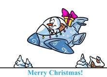 Historieta de los regalos del avión de combate del carácter del muñeco de nieve de la Navidad Imagen de archivo libre de regalías