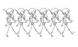 Historieta de los soldados modernos que marchan en desfile o adentro a la guerra Imágenes de archivo libres de regalías