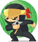Historieta de Ninja Holding Shuriken ilustración del vector