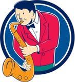 Historieta de Playing Saxophone Circle del músico Fotos de archivo libres de regalías