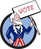 Historieta de tío Sam Holding Placard Vote Circle ilustración del vector