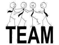 Historieta de Team Business People Helping Each otro a colocarse en el equipo grande de la palabra stock de ilustración