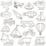 Historieta de Toy Transport Set Página que se coloreará Foto de archivo libre de regalías