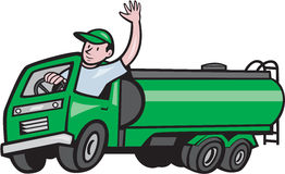 Historieta de 6 Wheeler Tanker Truck Driver Waving libre illustration
