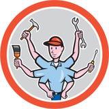 Historieta de Worker Six Hand del comerciante Imagen de archivo libre de regalías