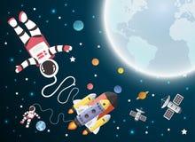 Historieta del astronauta con una nave espacial en órbita libre illustration