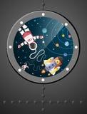 Historieta del astronauta con una nave espacial y una órbita en ventanas, AR de papel stock de ilustración