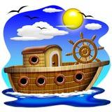 Historieta del barco de pesca ilustración del vector