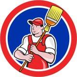 Historieta del círculo de Cleaner Holding Broom del portero stock de ilustración