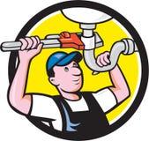 Historieta del círculo de la llave de Repair Sink Pipe del fontanero stock de ilustración