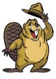 Historieta del carácter del castor que lleva un sombrero ilustración del vector