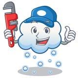 Historieta del carácter de la nube de la nieve del fontanero Fotografía de archivo libre de regalías