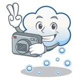 Historieta del carácter de la nube de la nieve del fotógrafo Imagenes de archivo