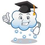 Historieta del carácter de la nube de la nieve de la graduación Imagen de archivo libre de regalías