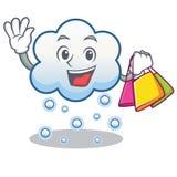 Historieta del carácter de la nube de la nieve de las compras Foto de archivo