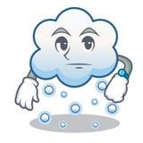 Historieta del carácter de la nube de la nieve que espera Imagenes de archivo