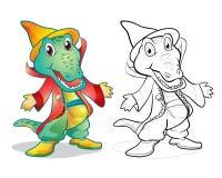 Historieta del cocodrilo de la mascota de la fantasía Imágenes de archivo libres de regalías