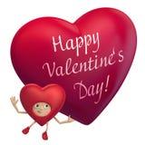 Historieta del corazón de la tarjeta del día de San Valentín que lleva a cabo el texto del saludo Foto de archivo