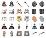 Historieta del crimen y del castigo, iconos del monochrom en la colección determinada para el diseño Ejemplo criminal del web de  libre illustration