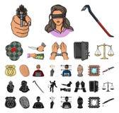 Historieta del crimen y del castigo, iconos negros en la colección determinada para el diseño Ejemplo criminal del web de la acci libre illustration